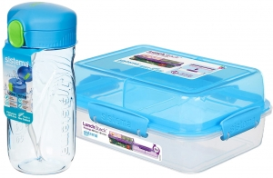Sistema zestaw lunchbox stack 1,8l blue + bidon quick flip 520ml blue