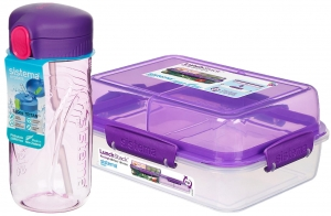 Sistema zestaw lunchbox stack 1,8l purple + bidon quick flip 520ml purple