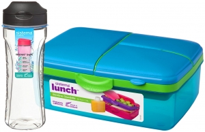 Sistema zestaw lunchbox kuferek 1,5l blue + bidon swift 600ml black
