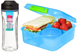 Sistema zestaw lunchbox bento 1,25l kolormix blue + bidon swift 600ml black