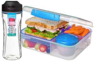 Sistema zestaw lunchbox bento 1,65l to-go blue + bidon swift 600ml black