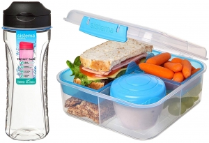 Sistema zestaw lunchbox bento 1,25l to-go blue + bidon swift 600ml black