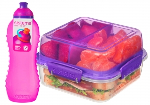 Sistema zestaw lunchbox składany lunch stack to-go 1240ml purple + bidon squeeze 460ml