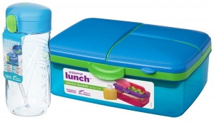 Sistema zestaw lunchbox kuferek 1,5l blue + bidon quick flip 520ml blue
