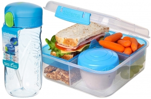 Sistema zestaw lunchbox bento 1,25l to-go blue + bidon quick flip 520ml blue